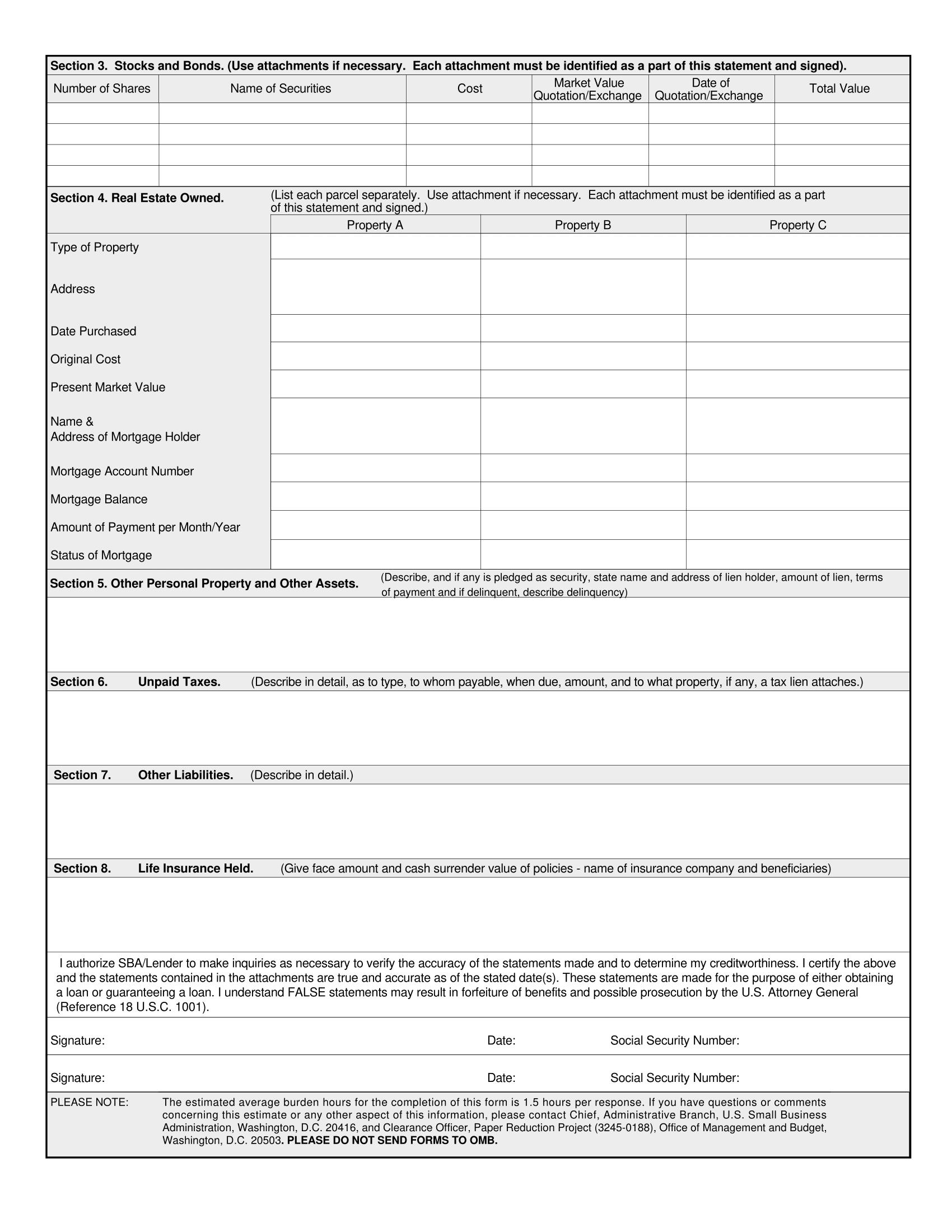 SBA 413 Personal Financial Statement-2